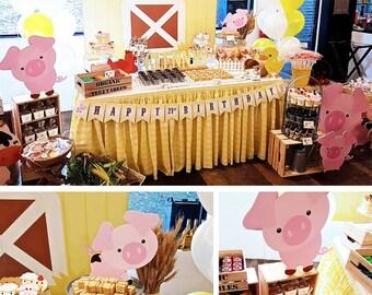 DIGITAL FILES Farm Party Decorations, Barn Animals Birthday Party Decor, Farm Printables, Farm Party Kit