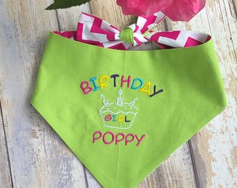 Personalized Birthday Dog Bandana | Reversible Happy Birthday Girl Pet Scarf | Best Custom Bandanas by Three Spoiled Dogs