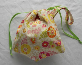 OOAK Small Project Bag Wristlet for Sock Knitting, Crochet, and Needlework - Off-white floral