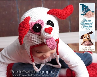 Crochet Pattern 051 - Valentine Puppy Love Earflap Beanie Hat - All Sizes