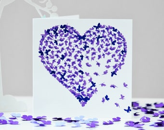 Purple Heart Butterfly Card, Purple birthday card, Romantic card, card, butterfly birthday card, best friend card, Thinking of You card