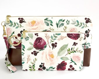 Ring Sling Clutch and Pouch Gift Set in Summer Gardens Floral- Diaper Clutch - New Mom Gift - Babywearing Gift