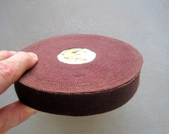 Vintage French Grosgrain Ribbon Cotton and Rayon Chocolate Brown Unused Ribbon 2.5cms Wide About 25 Meters