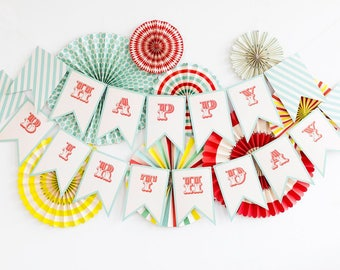 Happy Birthday Carnival Party Banner - Carnival Party banner - Carnival Party Decor - Circus Paper Lollies - Circus Birthday Banner-Birthday