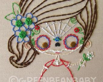The Sugar Skull Masked Kids Cutesie Digital Embroidery Patterns