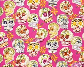 202647-Alexander Henry PINK Glitter Calaveras Skulls Dia De Los Muertos Day of the Dead Sugar Skulls Cotton Fabric BTY