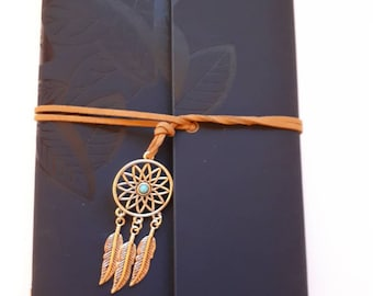 Blue leaf dream catcher journal jotter notebook. A5 size