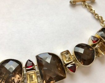 Vintage Estate Vermeil Smoky Quartz Garnet and Cirtine Chunky Bracelet