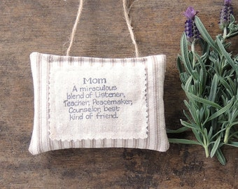 Beige Ticking Stripe Hand Stamped Mothers Day Lavender Hanging Sachet Organic Lavender, Lavender Pillows, Natural Aroma Therapy