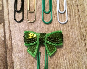 Planner Clip -  Light Green Sequin Bow For Planners, Calendars, Or Books