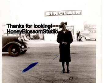 1930s Sinclair Gas Service Station Woman Cars Photograph Found Art Photo Picture