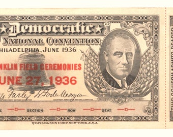 Vintage FDR 1936 Democratic National Convention Ticket Philadelphia June 27th with Coupon Attached