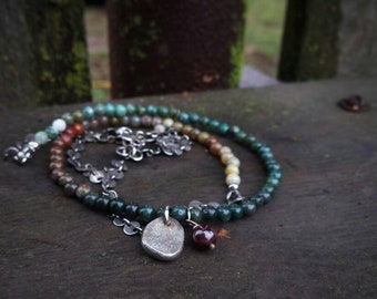 Ocean jasper layered wrap bracelet, sterling silver, disc links, recycled ingot charm, ombre gemstones, long necklace, silversmith jewelry