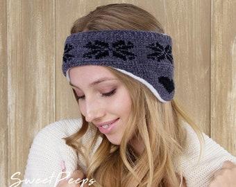Festive Headband Ear Warmer, Holiday Headband, Winter Headband, Button Headband, Ski Headwarmer, Ear Warmer, Snowflake Headband