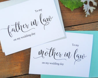 TO My MOTHER in Law Card, To My FATHER in Law Card, Mother in Law Gift, Father in Law Gift, Mother of the Bride, Father of the Bride