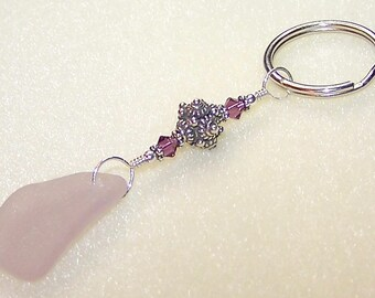 Genuine Sea Glass Keyring for Women Light Purple Beach Glass Keychain with Swarovski Elements