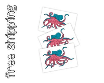 Set of 3 temporary tattoos Octopus. Nautical kids body stickers with marine animal. Modern ocean design. TT230
