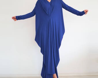 Dark blue maxi dress/ Oversized dress/ Women maxi dress/ loose fit maxi dress/ Plus size dress/ Long sleeve dress/ abaya dress SUNDAY FALL