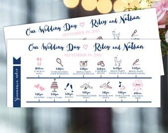 Printable Wedding Itinerary, Wedding day itinerary, Wedding day timeline, day schedule ,wedding itinerary, wedding printables