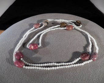 Vintage Multi Round Oval Multi colored Tourmaline all Bead 54 Inch Long Necklace
