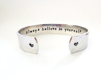 Inspiration Cuff, Inspiration Bracelet, Inscribed Jewelry, Mantra Jewelry, Personalized, Handstamped Jewelry, Graduation