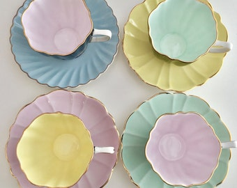 RESERVED for WH in SA Cheerful harlequin vintage tea set for 4 - Sampson Smith (with one mismatched saucer)
