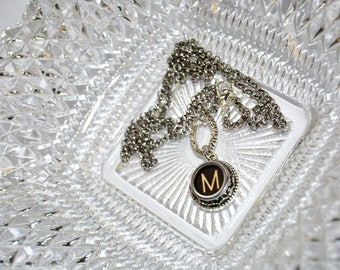 Typewriter Key Initial Necklace Personalized with a Letter M, Art Deco Vintage Style, Typography Jewelry.