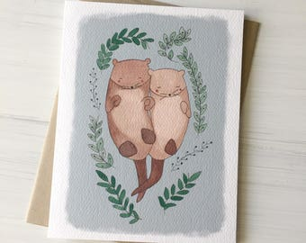 Otters in Love - love card, valentine card, valentines day, anniversary card, card for boyfriend, girlfriend card, otter card, sweet card