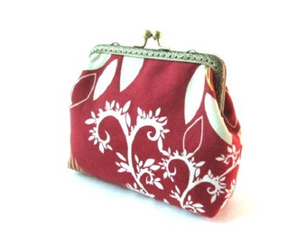 Frame coin purse, frame makeup bag, white reddish brown clutch, brown bird fabric pouch, kiss lock clasp bag, bronze purse frame