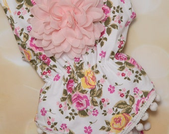 Baby Girl Cotton White Floral Sleveless One Piece with Pom Poms Girls Sleeveless Floral  One Piece