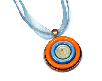 Orange Blue Repurposed Jewelry, Button Pendant Necklace,  Upcycled, Handmade Gifts