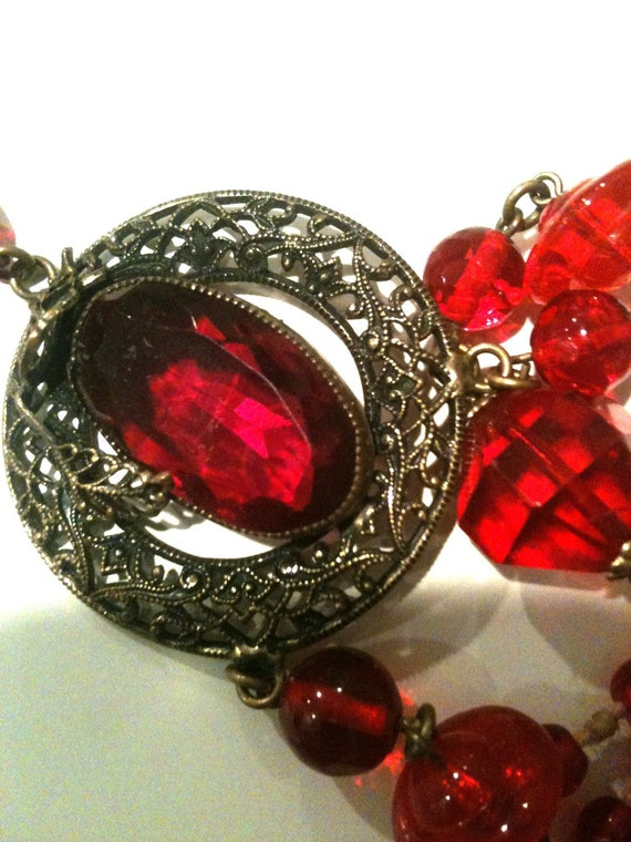 Red Czech glass,  Ruby Red, Glass beads,Long Necklace, Antique Necklace, Ruby Necklace