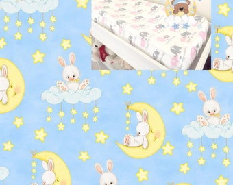Flannel Moon Changing Pad Cover Contoured Changing Pad Cover 100% Cotton  Flannel Modern Nursery Baby Boy Girl Changing Pad Covering