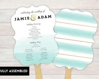 Wedding Fan, Wedding Program, Fans, Ceremony Program Fans, Wedding Keepsake Fans, wedding Fan, Custom Wedding Fans, watercolor
