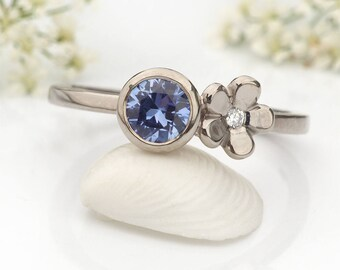 Size K 1/2 (US 5 3/8) Sapphire and Diamond Ring, Ethical 18k White Gold, Ready to Ship