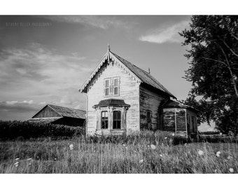 Landscape Photography Old Farmhouse Print Black and White Photography Rustic Decor Architecture Photography Abandoned House Wisconsin Art