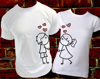 Kissing Love Shirts / Made for each other / Black and White Shirts / Cartoon Love couple