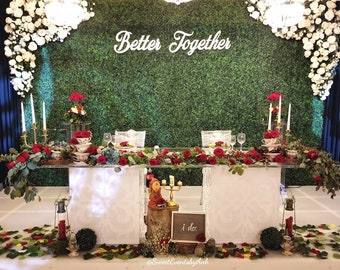 "Better Together Sign, 2 pieces, 61.5"" Inch Span, Wedding Sign, Backdrop Sign, Hedgewall Sign, Wood Sign, Rustic Sign, Laser Cut Sign"
