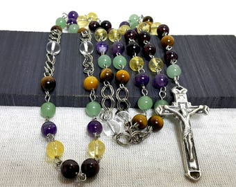 Gemstone Rosary Beads, Prayer Rosary Necklace, Confirmation Gift, Keepsake Gift For Sacraments, Abundance Rosary Beads