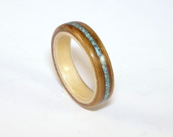 Wooden Ring - Tropical Olive with Sycamore and a Crushed Turquoise Inlay Band.  Bent Wood Rings Handmade to Any UK or US Size