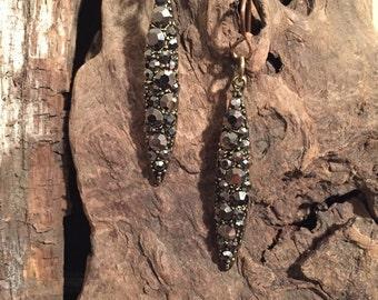 Metallic Rhinestone Drop Earrings