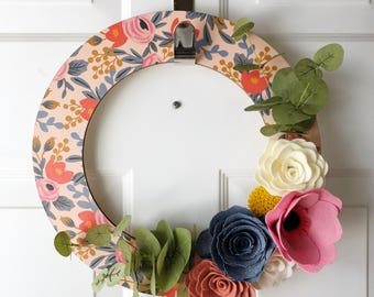"""14"""" Wooden Wreath with Rifle Paper and Felt Flowers"""