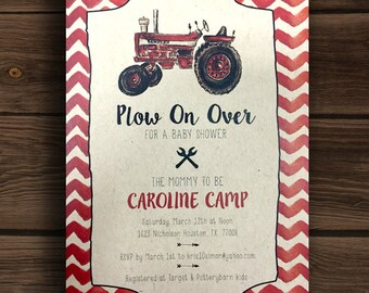 Plow On Over For A Baby Shower ~ Red Tractor Baby Shower Invitation
