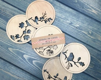 Wood Coasters. Bird Coasters, Nature inspired coasters,. Set of 4 coasters. Laser cut coaster set,