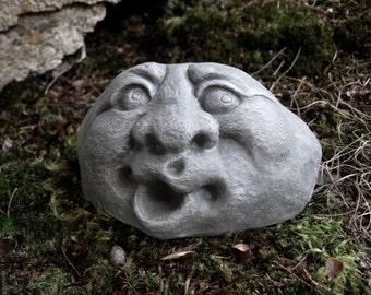 Garden Rock Face, Concrete Garden Face, Funny Face, Rocks With Faces, Garden Decor, Rock Faces, Garden Rock, Stone Faces, Fairy Garden Rock
