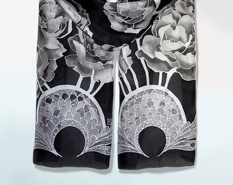 Back scarves - Peony silk scarf - hand painted scarf - black silk scarf - monochrome - foulard - black and white flowers - peony scarf