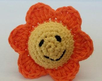 Bright Orange Spring Smiley Flower Baby Rattle