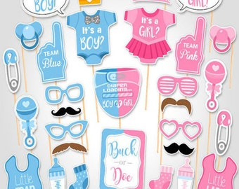 Boy or girl photo booth props, gender reveal party, baby shower decorations. photo booth props baby shower, photo booth props