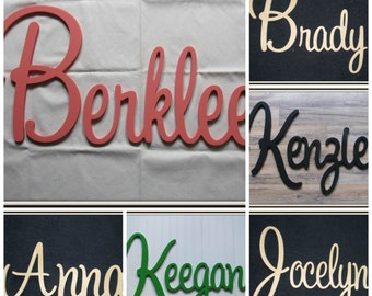 "Wooden Name  12"" 15"" or 18"" Capital Letter  Unpainted or Painted Connected Wood Name Boys and Girls Name Wall Letters Kids Room"