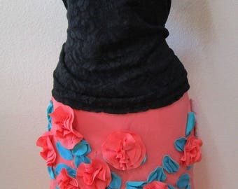 Tropical Orange color with roses decoration knee length Skirt plus made in USA (v30)